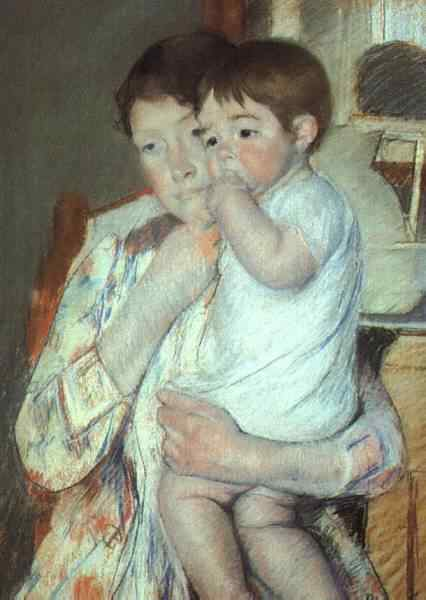 Mother and Child Against a Green Background, Cassatt