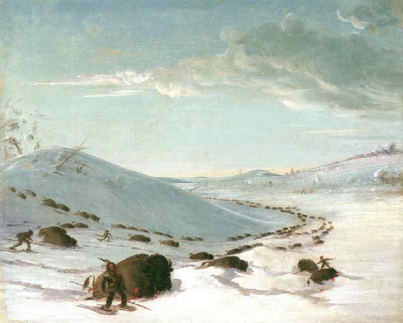 Buffalo Chase in Winter,